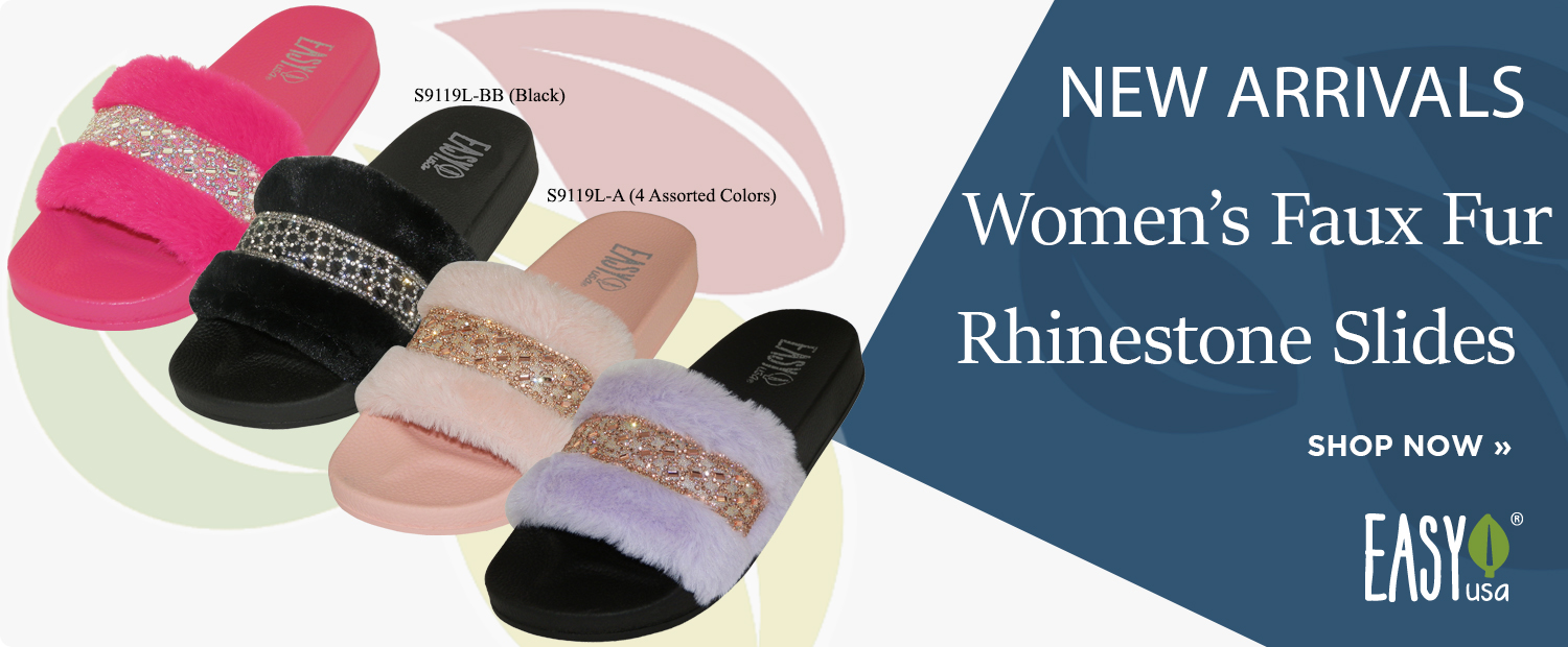 New Arrivals: Women's Faux Fur Rhinestone Slides