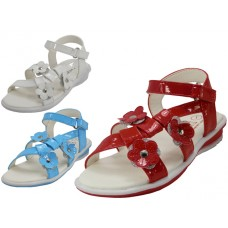 BB2100 - Wholesale Toddlers 3 flowers Top With Side Velcro Sandals ( *Asst. Color)