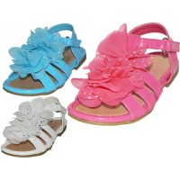BB2300 - Wholesale Toddlers Silk Mesh Flower Top Sandals ( *Asst. White, Blue And Fuchsia )