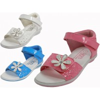 BB2400 - Wholesale Toddlers Velcro Top and Side With Flower Top Sandals  ( *Asst. White, Light Blue And Pink )