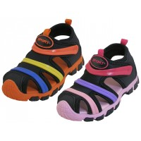 BB2603-A Wholesale Children's Rainbow Stripe Upper Velcro Sandals ( Asst. Black/Pink & Black/Orange )