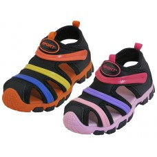 S2603-A Wholesale Children's Rainbow Strip Upper Velcro Sandals ( Asst. Black/Pink And Black/Orange )