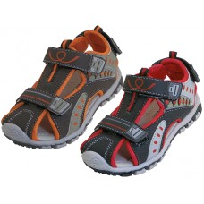 BB2608-A - Wholesale Children's Pu. Leather Upper Multi Velcro Sandals ( *Asst. Black/Gray/Red And Brown/Beige/Orange  )