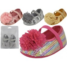 BB2620 - Wholesale Baby Sequin Shoes w/Bow ( *Asst. Silver, Gold Pink And Multi )