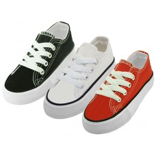 BB327-A Wholesale Child's Comfortable Cotton Canvas Lace Up Shoe ( *Asst. White, Black & Red )