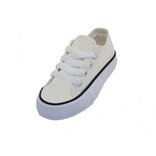 BB327-W Wholesale Child's Comfortable Cotton Canvas Lace Up Shoes ( * White Color )