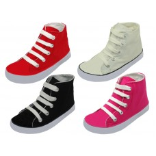BB328- Wholesale Toddler's Lace Up  High Top Canvas Shoes ( *Asst. Black White Red And Pink )