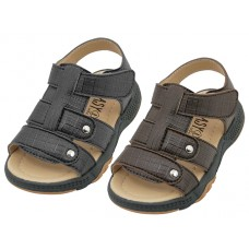 "BB6006 - Wholesale Boy's ""EasyUSA"" P.U. Leather Upper Velcro Sandals ( *Asst. Black & Brown )"