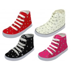 BB648 - Wholesale Children's Lace Up High Top  Star Printed Canvas Shoes ( *Asst. Black, White, Red And Pink )