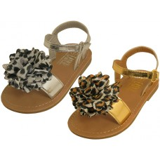 BB8002 - Wholesale Infant's Metallic Sandals *Gold & Silver With Bow ( *Asst. Gold And Silver )