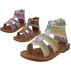 BB8003 - Wholesale Girl's Gladiator With Back Zipper Sandals ( *Asst. Multi Tan, Multi Pink And Multi White )