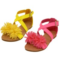 BB8006 - Wholesale Toddlers Silk Mesh Flower Top Cross Trap Sandals