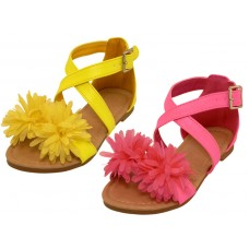 BB8006 - Wholesale Toddlers Silk Mesh Flower Top Cross Trap Sandals (  *Asst. Yellow And Hot Pink )