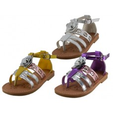 BB8007 - Wholesale Girl's Mettalic Rose Top  Sandals ( *Asst. Purple, White And Yellow )