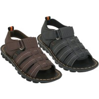 BB8009 - Wholesale Boy's Pu. Leather Upper Velcro Sandals ( *Asst. Black And Brown )