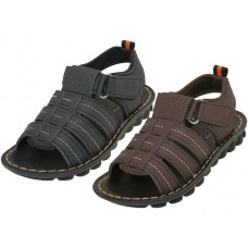 "BB8009 - Wholesale Boy's ""EasyUSA"" Soft Man Made Leather Upper Open Toe With Velcro Sandals ( *Asst. Black & Dark Brown )"