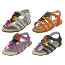 BB9003 - Wholesale Children's Multi Colors Flower Top Sandals ( *Asst. Black, White, Purple And Orange ) *Last Case
