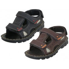 BB9004 - Wholesale Boy's Soft Man Made Leather Upper Velcro Sandals ( *Asst. Black And Dark Brown )
