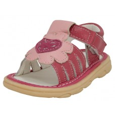 BB9006 - Wholesale Baby's Leather Sandals With Heart Shape Patch ( *Red/Pink ) *Last 3 Case