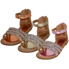 BB9006-MT - Wholesale Girl's Rhinestone Upper With Ankle Strip Sandals ( *Asst. Mt. Gold, Mt. Pink And Mt. Rose Gold )