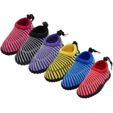 "G1177C-A - Wholesale Youth ""Wave"" Sea Shell Print Comfortable Water Shoes ( *Asst. Red. Black. Purple. Yellow. Blue And Fuchsia )"