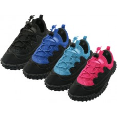 "G1188C-A - Wholesale Children's ""Wave"" Lace Up Hicker style Water Shoes ( *Asst. Black/Purple. Black/Royal. All Black And Black/Blue )"