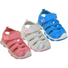 G2601-A - Wholesale Girl's Hiker Velcro Sandals ( *Asst. White, Sky Blue And Pink )