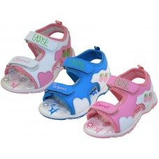 "G2701-A - Wholesale Girl's ""EasyUSA"" Velcro Sport Hicker Style Sandals ( *Asst. White, Sky Blue And Pink )"