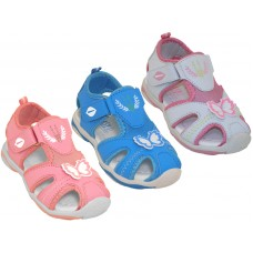 G2801-A - Wholesale Girl's Velcro Side Sport Hiker Sandals ( *Asst. White Sky Blue And Pink )