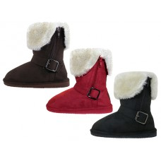 G6620-A - Wholesale Youths Micro Suede Foldover Boots With Faux Fur Lining and Side Zipper ( *3 Assorted Colors )