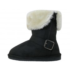 G6620-B wholesale Youth Micro suede Foldover Boots With Faux Fur Lining And Side Zipper ( *Black Color )