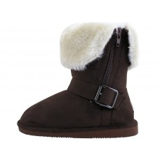 G6620-T wholesale Youth's Micro Suede Foldover Boots With Faux Fur Lining And Side Zipper ( *Brown Color )
