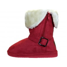 G6620-Dark Red Wholesale Youths Micro Suede Foldover Boots With Faux Fur Lining and Side Zipper ( *Dark Red Color )