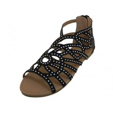 G7602C-B Wholesale Youth's Rhinestone Top Gladiator Sandals ( *Black Color )
