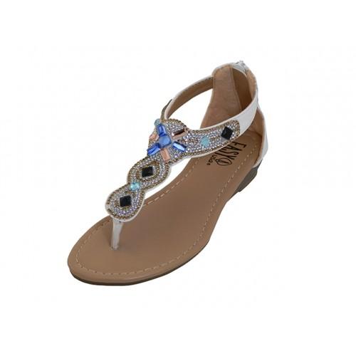 9356d2e5028ed3 G7903C-W Wholesale Youth s Rhinestone Sandals (  White Color )  Last Case