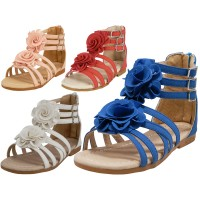 G902-A Wholesale Children's Gladaitor Sandals With Silk Flower Top ( *Asst. Red Pink Whiye & Blue )