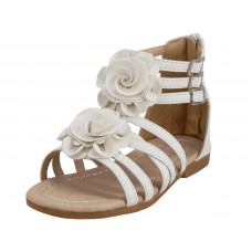 G902-W Wholesale Children's Gladaitor Sandals With Silk Flower Top ( *White Color )