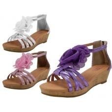 G904-A Wholesale Yoyths Wedge Sandals With silk Flower top ( *Asst. Purple Pink & White ) *Last 3 Case