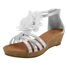 G904-W Wholesale Youth's Wedge Sandals With Silk Flower Top ( *White Color ) *Last 2 Cases