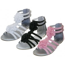 "G905Y-A Wholesale Youth's ""EasyUSA"" Silk Flower Top With Metallic Insole Gladiator Sandals (Asst. White, Black & Pink)"