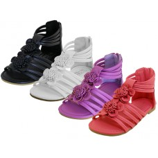 "G908C-A Wholesale Girl's ""EasyUSA"" Flower Top Gladiator Sandals ( *Asst. Black White Purple & Red )"