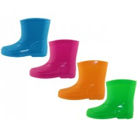 """RB-44 - Wholesale """"EasyUSA"""" Kid's Water Proof Soft Rubber Rain Boots ( *Asst. Neon Blue, Green, Fuchsia, And Yellow ) *Last 4 Case"""