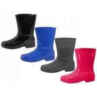 "RB-55 Wholesale Children's ""EasyUSA"" Water Proof Soft Plain Rubber Rain Boots ( *Asst. Black Gray Royal Blue & Bright Red )"