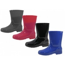 RB-55 - Wholesale EasyUSA Children's Plain Rubber Rain Boots ( *Asst. Black Gray Fuchsia And Royal )