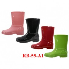 RB-55-A1 Wholesale EasyUSA Children's Water Proof Plain Rubber Rain Boot (  Asst. Black Red Pink Lime )