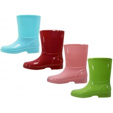 RB-55-C3 Wholesale EasyUSA Children's Plain Rubber Rain Boots ( *Asst.Cyan Pink Red & Lime )