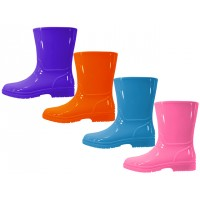 RB-55-G - Wholesale EasyUSA Children's Water Proof Plain Rubber Rain Boot ( *Asst. Violet, Hot Pink, Bright Orange & Pricess Blue )