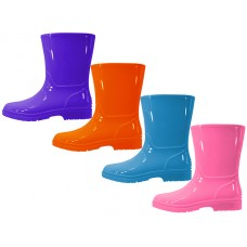 RB-55-G - Wholesale EasyUSA Children's Water Proof Plain Rubber Rain Boots ( *Asst. Violet, Hot Pink, Bright Orange & Pricess Blue )