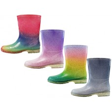 "RB-59 Wholesale Children's ""EasyUSA"" Water Proof Soft Plain Rubber Rain Boots ( *Asst. Glitter Multi Purple, Glitter Multi Green, Glitter Multi Pink & Glitter Multi Yellow  )"