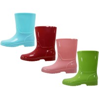 RB-66-C3 Wholesale Youth's Plain Rubber rain Boots ( *Asst. Cyan Pink Red & Lime )
